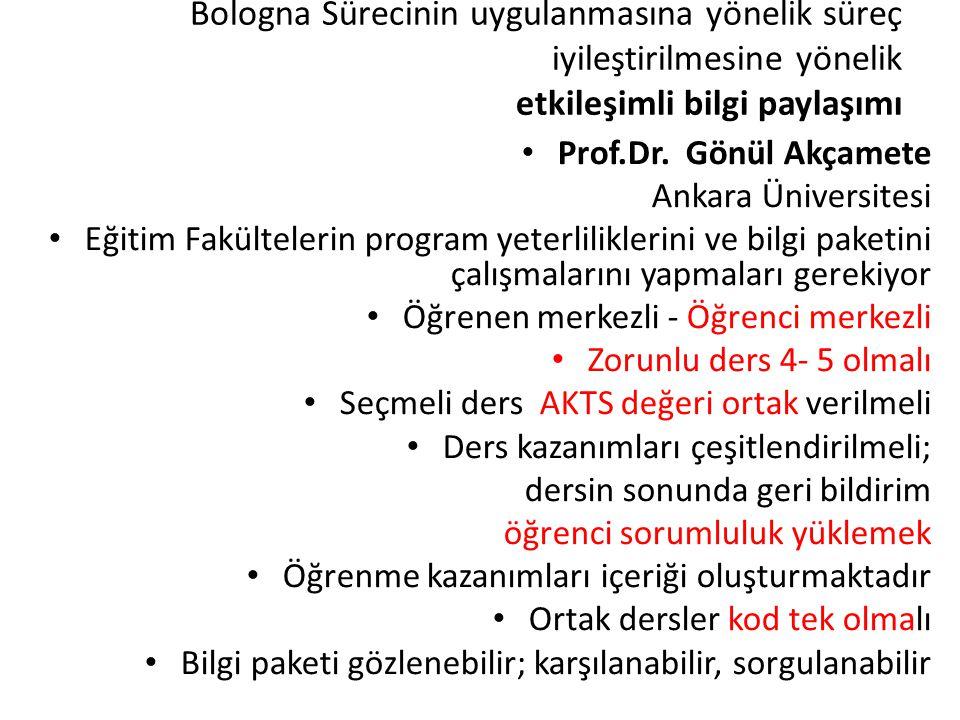 Bologna Sürecinin uygulanmasına yönelik süreç iyileştirilmesine yönelik etkileşimli bilgi paylaşımı Prof.Dr. Gönül Akçamete Ankara Üniversitesi Eğitim