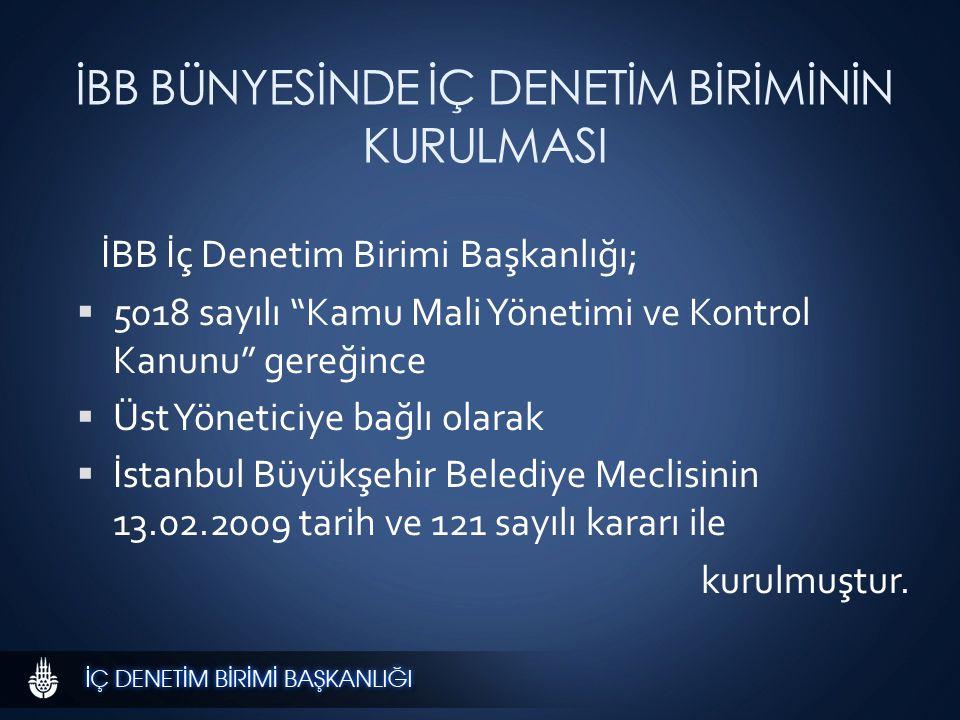 İBB BÜNYESİNDE İÇ DENETİM BİRİMİNİN KURULMASI İBB İç Denetim Birimi Başkanlığı;  5018 sayılı Kamu Mali Yönetimi ve Kontrol Kanunu gereğince  Üst Yöneticiye bağlı olarak  İstanbul Büyükşehir Belediye Meclisinin 13.02.2009 tarih ve 121 sayılı kararı ile kurulmuştur.