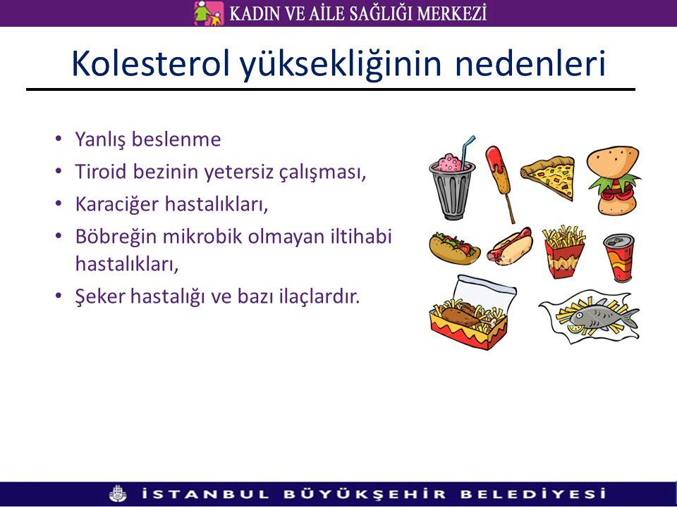 Kolesterol yüksekliğinin nedenleri Yanlış beslenme Tiroid bezinin yetersiz çalışması, Karaciğer hastalıkları, Böbreğin mikrobik olmayan iltihabi hastalıkları, Şeker hastalığı ve bazı ilaçlardır.
