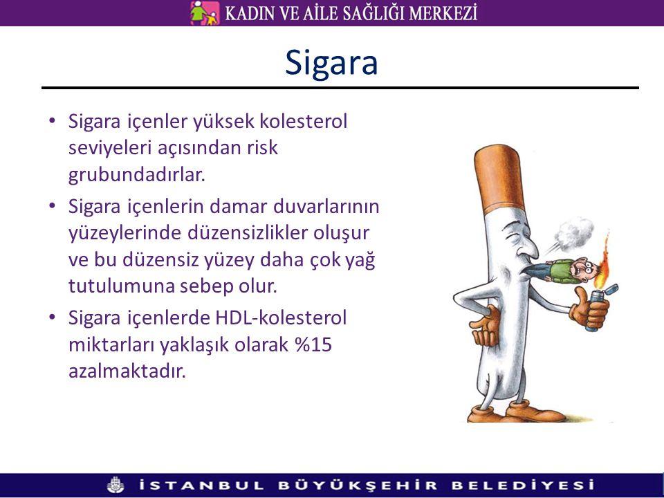Sigara Sigara içenler yüksek kolesterol seviyeleri açısından risk grubundadırlar.