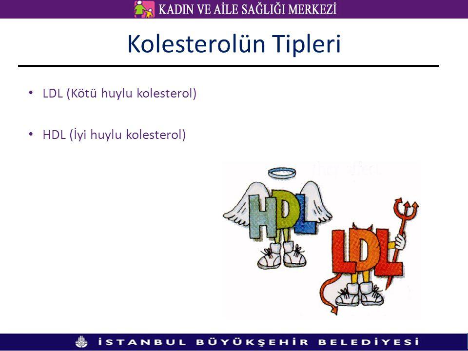 Kolesterolün Tipleri LDL (Kötü huylu kolesterol) HDL (İyi huylu kolesterol)