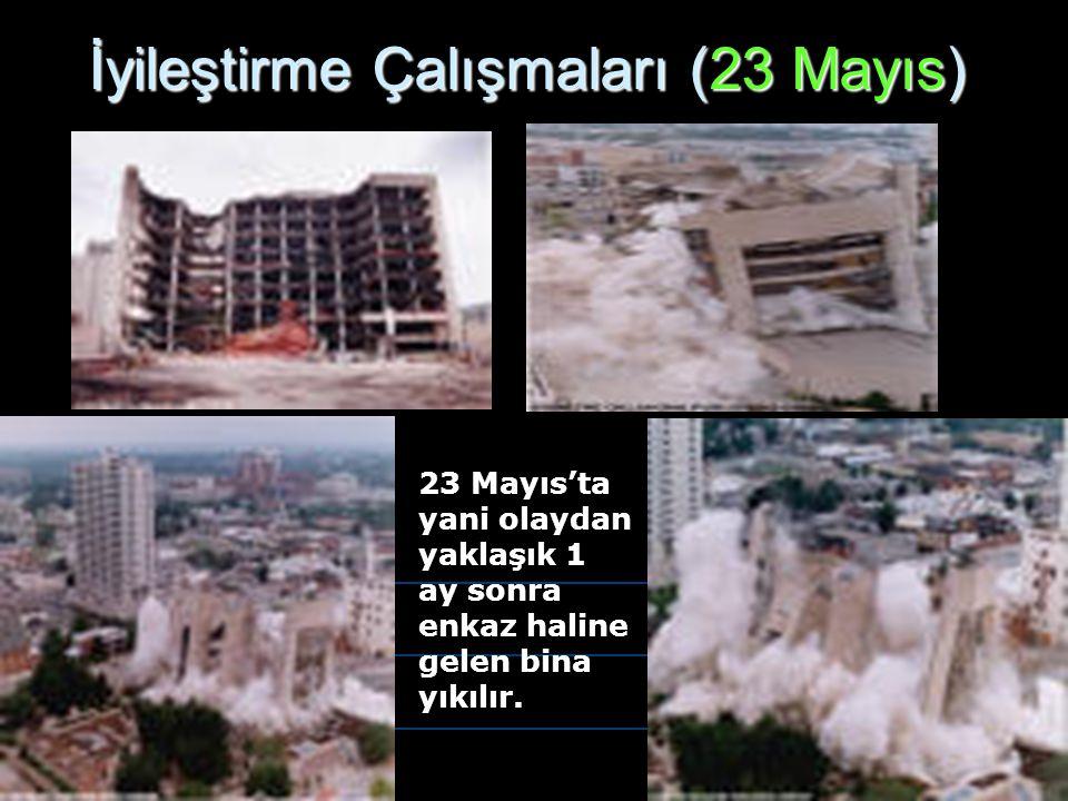 İyileştirme Çalışmaları (23 Mayıs) 23 Mayıs'ta yani olaydan yaklaşık 1 ay sonra enkaz haline gelen bina yıkılır.