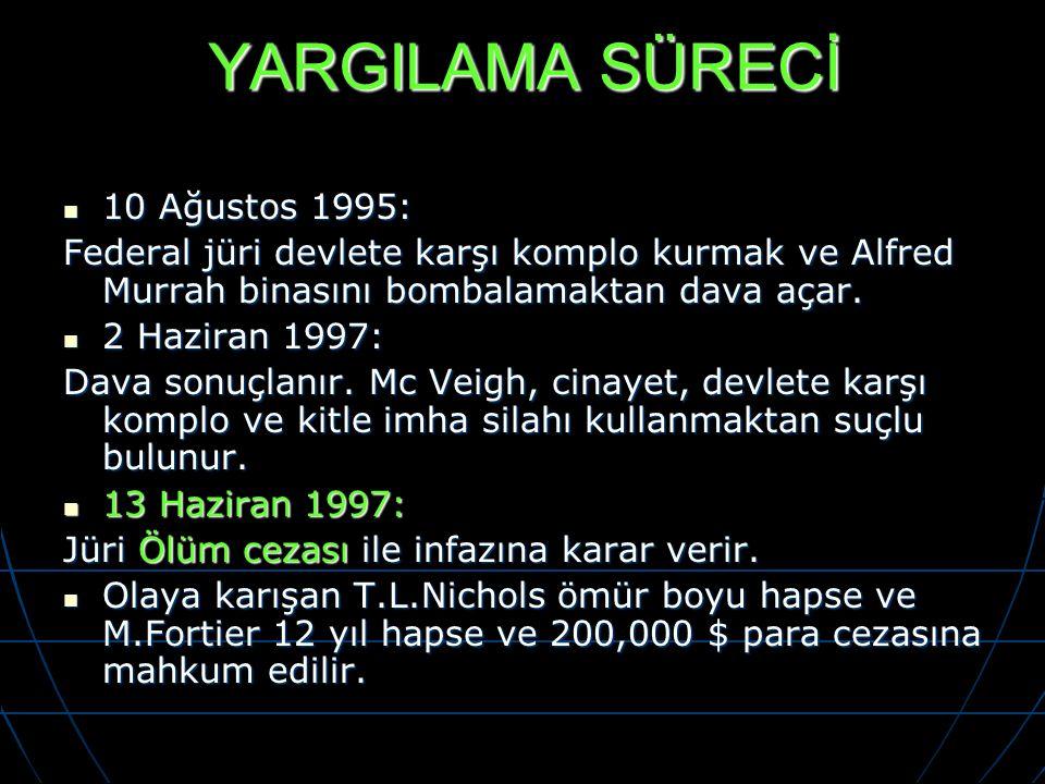 YARGILAMA SÜRECİ 10 Ağustos 1995: 10 Ağustos 1995: Federal jüri devlete karşı komplo kurmak ve Alfred Murrah binasını bombalamaktan dava açar. 2 Hazir