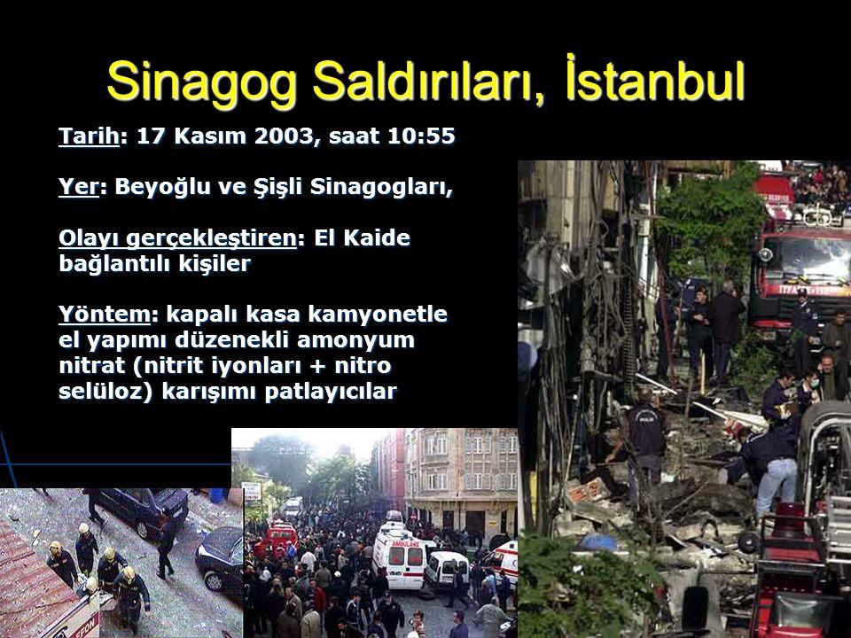 Sinagog Saldırıları, İstanbul Tarih: 17 Kasım 2003, saat 10:55 Yer: Beyoğlu ve Şişli Sinagogları, Olayı gerçekleştiren: El Kaide bağlantılı kişiler Yö