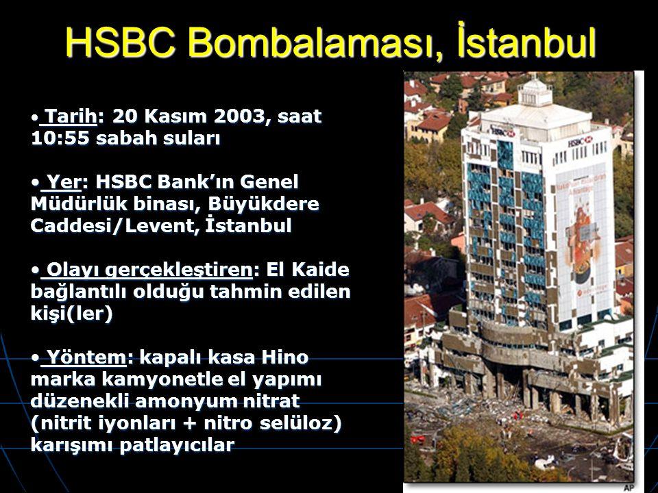 HSBC Bombalaması, İstanbul Tarih: 20 Kasım 2003, saat 10:55 sabah suları Tarih: 20 Kasım 2003, saat 10:55 sabah suları Yer: HSBC Bank'ın Genel Müdürlü