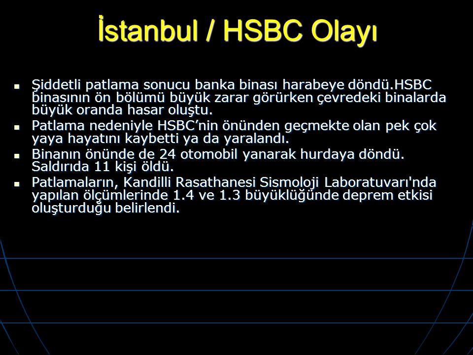 İstanbul / HSBC Olayı Şiddetli patlama sonucu banka binası harabeye döndü.HSBC binasının ön bölümü büyük zarar görürken çevredeki binalarda büyük oran