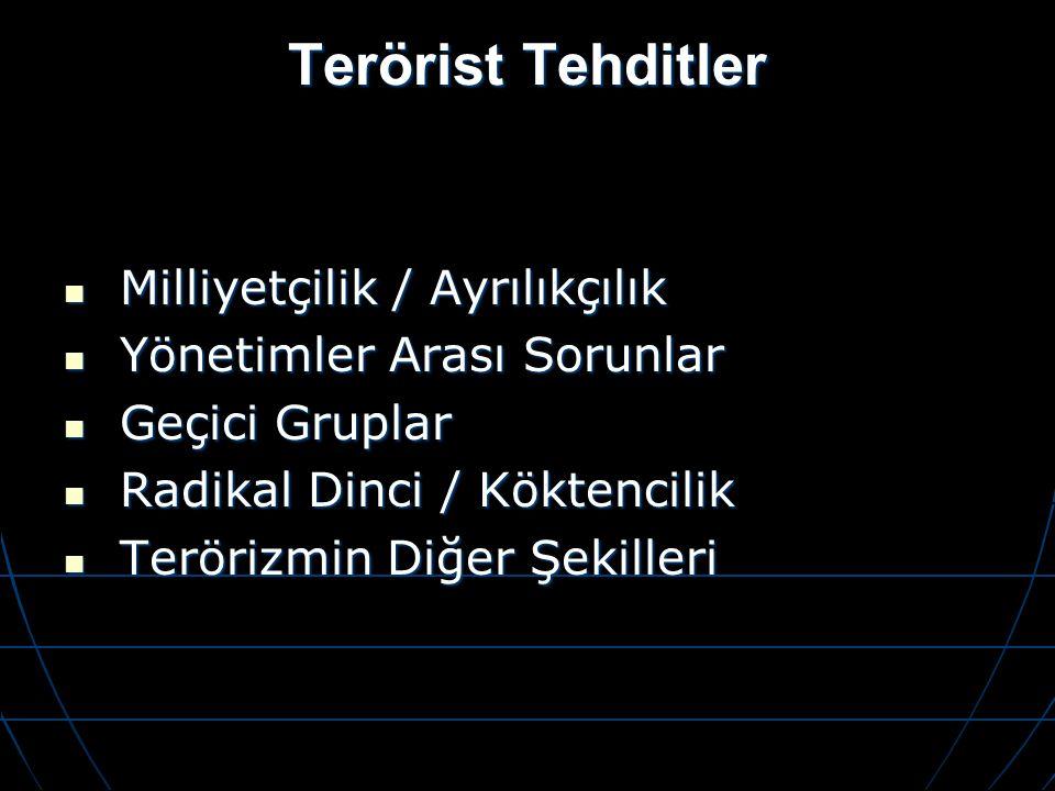Terörist Tehditler Milliyetçilik / Ayrılıkçılık Milliyetçilik / Ayrılıkçılık Yönetimler Arası Sorunlar Yönetimler Arası Sorunlar Geçici Gruplar Geçici