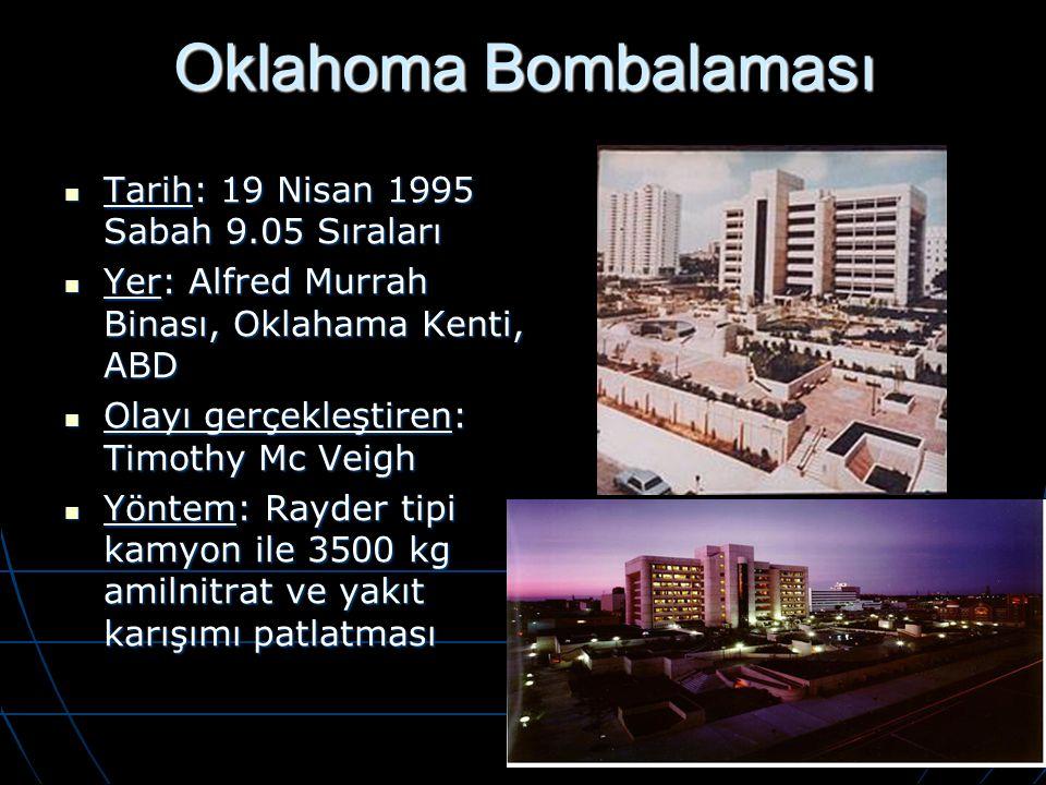 Oklahoma Bombalaması Tarih: 19 Nisan 1995 Sabah 9.05 Sıraları Tarih: 19 Nisan 1995 Sabah 9.05 Sıraları Yer: Alfred Murrah Binası, Oklahama Kenti, ABD