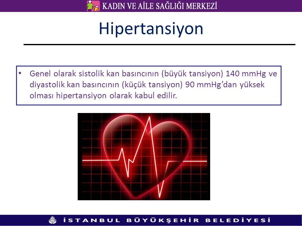 Hipertansiyon Genel olarak sistolik kan basıncının (büyük tansiyon) 140 mmHg ve diyastolik kan basıncının (küçük tansiyon) 90 mmHg'dan yüksek olması hipertansiyon olarak kabul edilir.