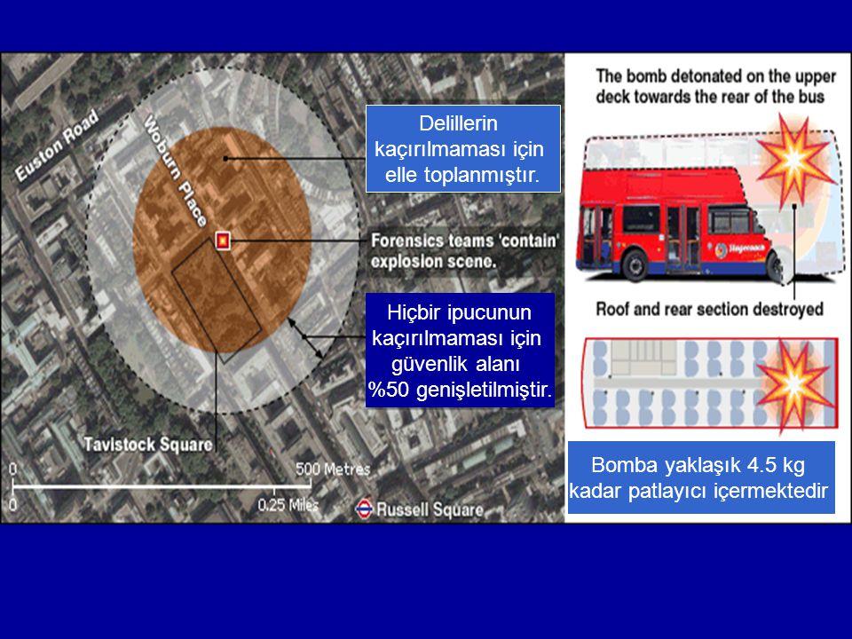 Hiçbir ipucunun kaçırılmaması için güvenlik alanı %50 genişletilmiştir. Delillerin kaçırılmaması için elle toplanmıştır. Bomba yaklaşık 4.5 kg kadar p