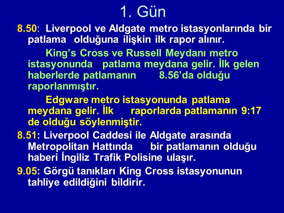 1. Gün 8.50: Liverpool ve Aldgate metro istasyonlarında bir patlama olduğuna ilişkin ilk rapor alınır. King's Cross ve Russell Meydanı metro istasyonu