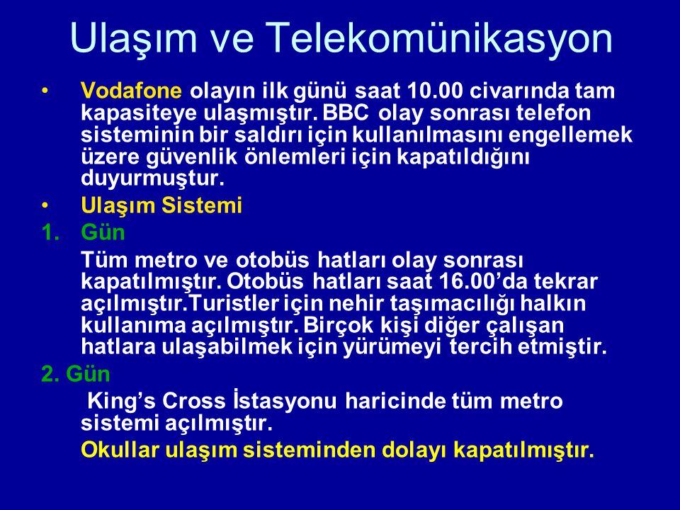 Ulaşım ve Telekomünikasyon Vodafone olayın ilk günü saat 10.00 civarında tam kapasiteye ulaşmıştır. BBC olay sonrası telefon sisteminin bir saldırı iç