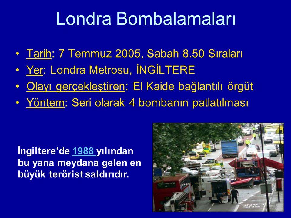 Londra Bombalamaları Tarih: 7 Temmuz 2005, Sabah 8.50 Sıraları Yer: Londra Metrosu, İNGİLTERE Olayı gerçekleştiren: El Kaide bağlantılı örgüt Yöntem: