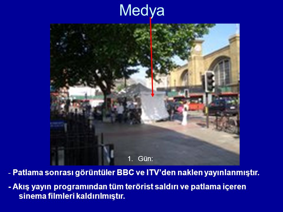 Medya 1.Gün: - Patlama sonrası görüntüler BBC ve ITV'den naklen yayınlanmıştır. - Akış yayın programından tüm terörist saldırı ve patlama içeren sinem
