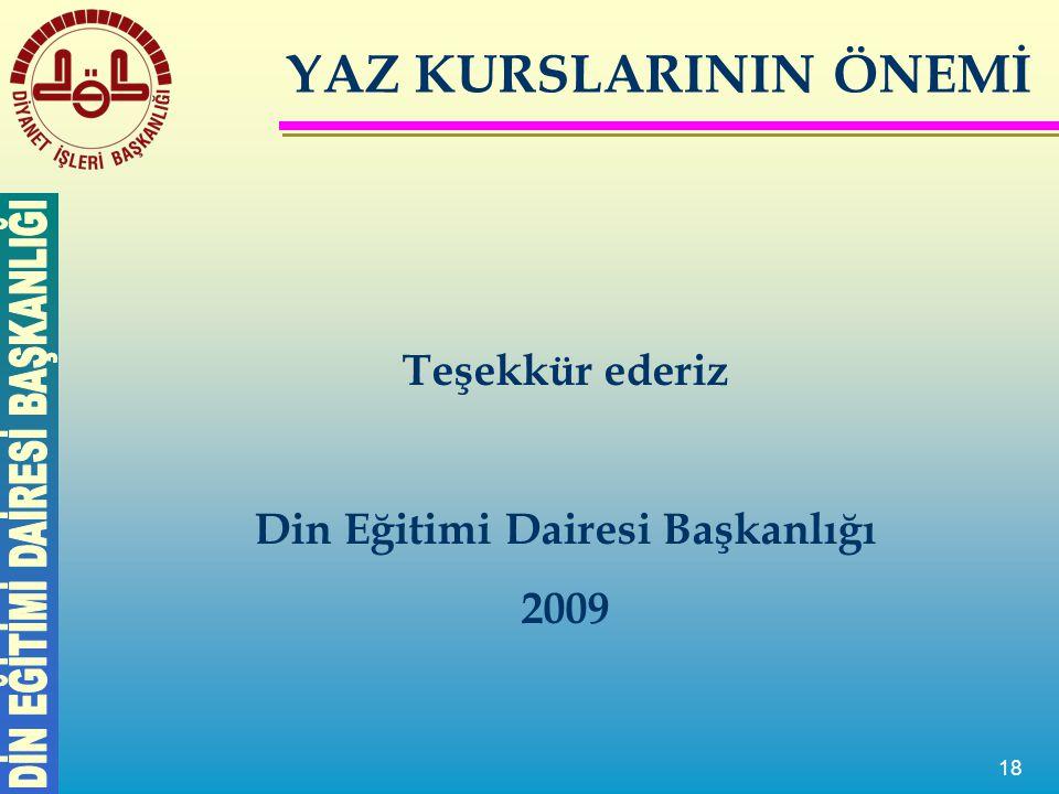 18 Teşekkür ederiz Din Eğitimi Dairesi Başkanlığı 2009 YAZ KURSLARININ ÖNEMİ