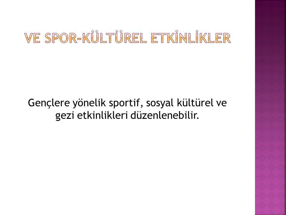 Gençlere yönelik sportif, sosyal kültürel ve gezi etkinlikleri düzenlenebilir.