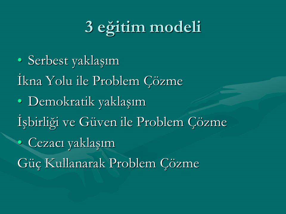 3 eğitim modeli Serbest yaklaşımSerbest yaklaşım İkna Yolu ile Problem Çözme Demokratik yaklaşımDemokratik yaklaşım İşbirliği ve Güven ile Problem Çözme Cezacı yaklaşımCezacı yaklaşım Güç Kullanarak Problem Çözme