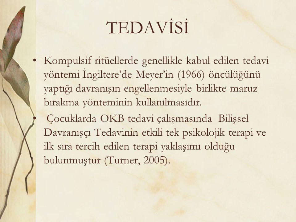 TEDAVİSİ Kompulsif ritüellerde genellikle kabul edilen tedavi yöntemi İngiltere'de Meyer'in (1966) öncülüğünü yaptığı davranışın engellenmesiyle birli