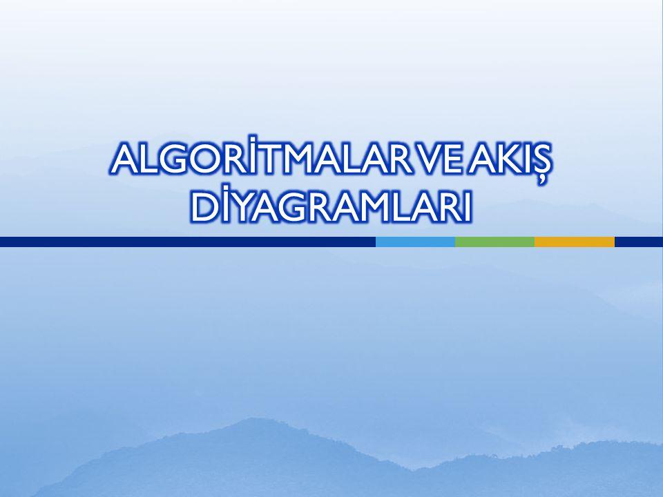  Genelde herhangi bir problemin çözümü için takip edilen iş sıralamasına algoritma denir.