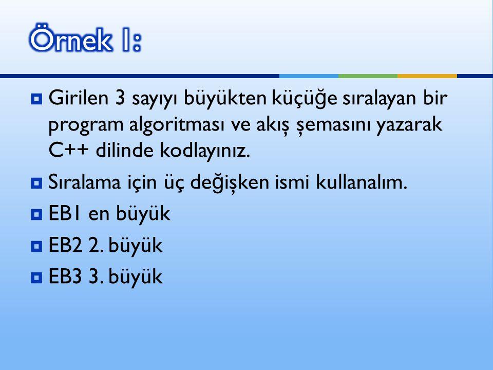  Girilen 3 sayıyı büyükten küçü ğ e sıralayan bir program algoritması ve akış şemasını yazarak C++ dilinde kodlayınız.