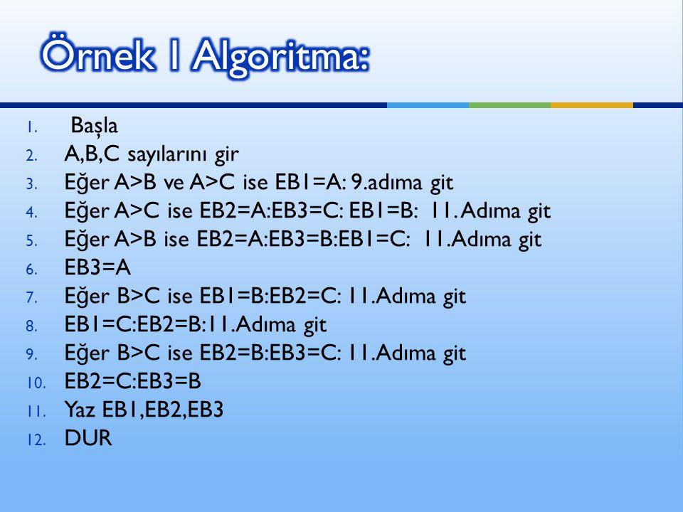 BAŞLA A>B ve A>C .A>C A>B. B>C.