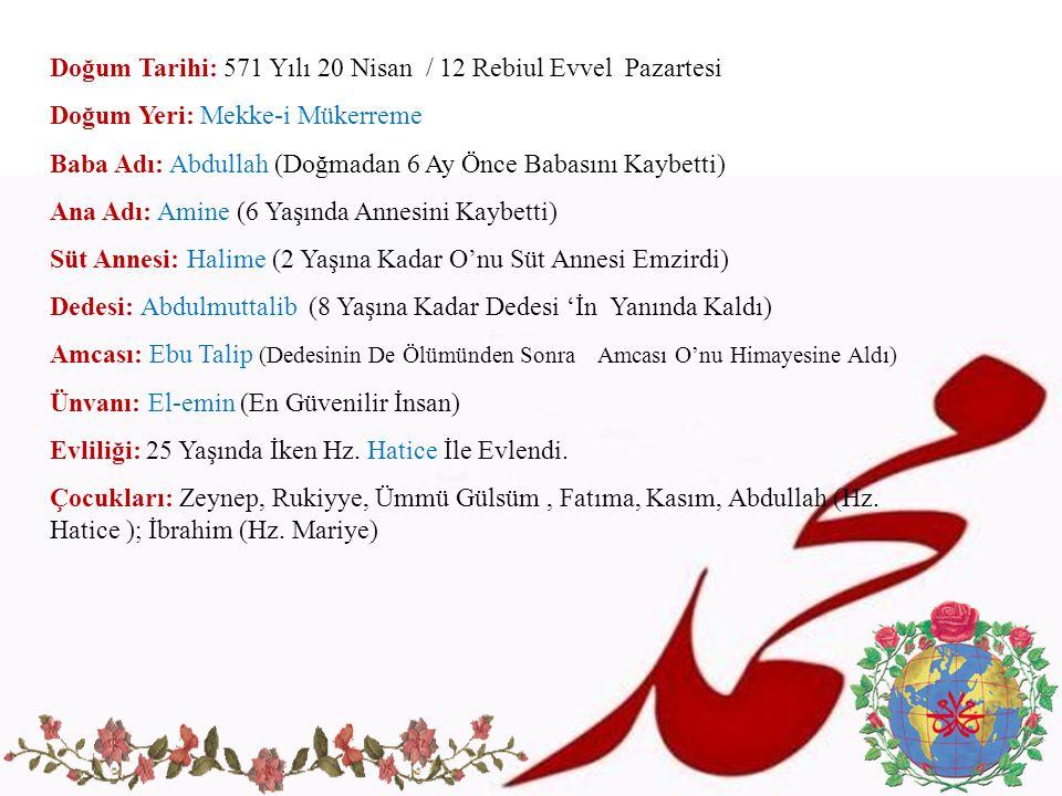 Doğum Tarihi: 571 Yılı 20 Nisan / 12 Rebiul Evvel Pazartesi Doğum Yeri: Mekke-i Mükerreme Baba Adı: Abdullah (Doğmadan 6 Ay Önce Babasını Kaybetti) An