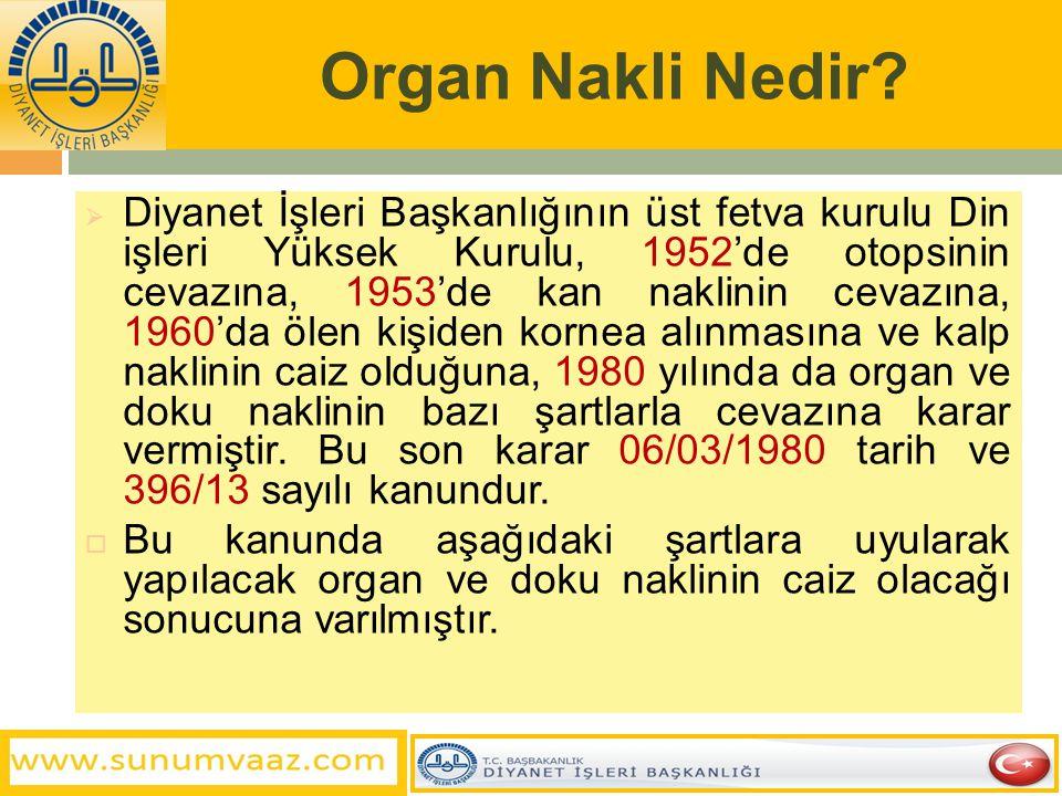 Organ Nakli Nedir?  Diyanet İşleri Başkanlığının üst fetva kurulu Din işleri Yüksek Kurulu, 1952'de otopsinin cevazına, 1953'de kan naklinin cevazına
