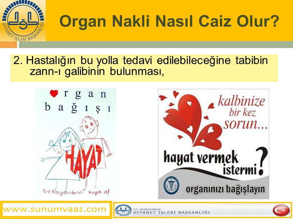 Organ Nakli Nasıl Caiz Olur? 2. Hastalığın bu yolla tedavi edilebileceğine tabibin zann-ı galibinin bulunması,