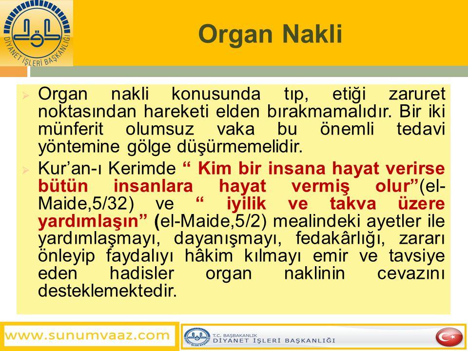 Organ Nakli  Organ nakli konusunda tıp, etiği zaruret noktasından hareketi elden bırakmamalıdır. Bir iki münferit olumsuz vaka bu önemli tedavi yönte