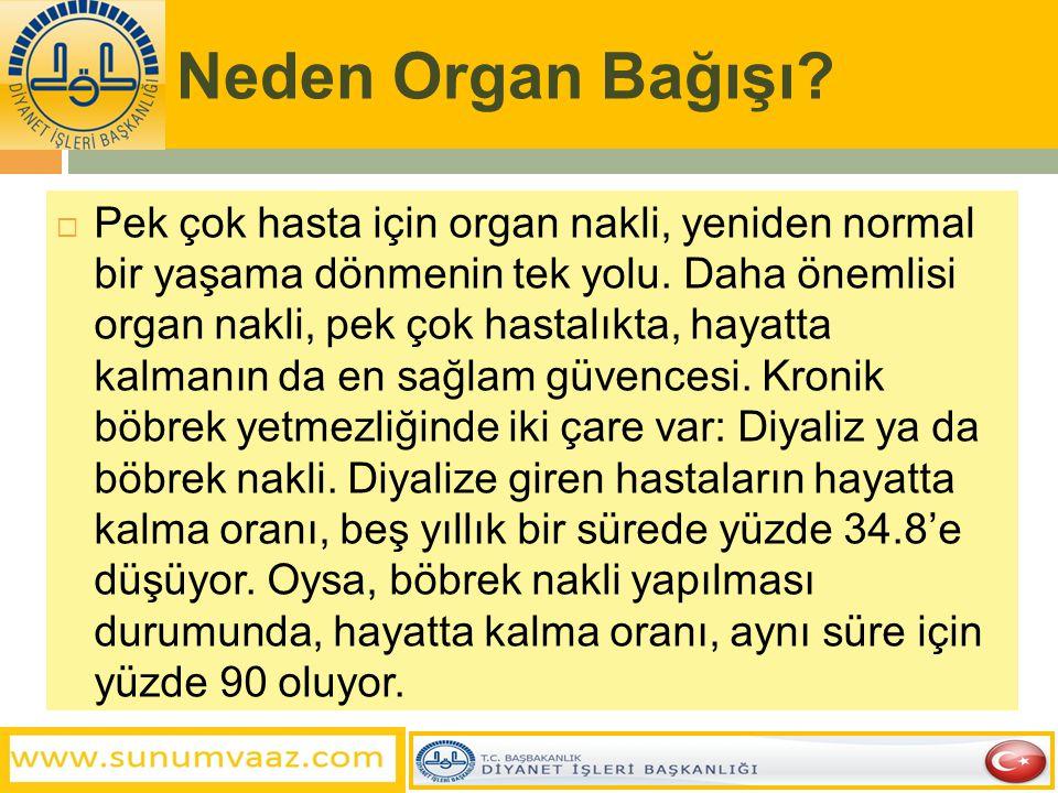 Neden Organ Bağışı?  Pek çok hasta için organ nakli, yeniden normal bir yaşama dönmenin tek yolu. Daha önemlisi organ nakli, pek çok hastalıkta, haya