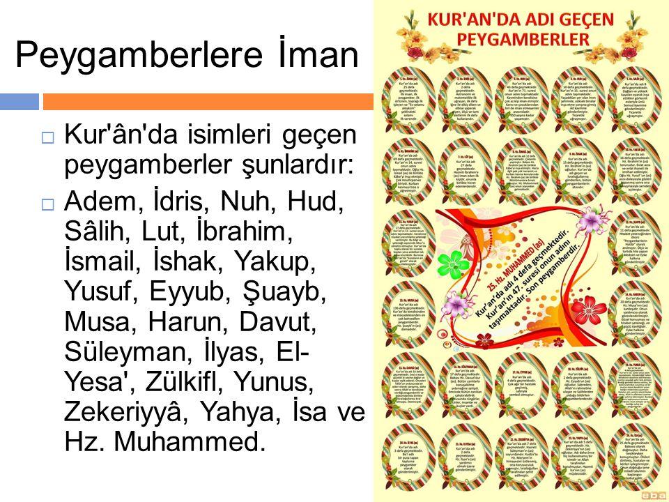  Kur'ân'da isimleri geçen peygamberler şunlardır:  Adem, İdris, Nuh, Hud, Sâlih, Lut, İbrahim, İsmail, İshak, Yakup, Yusuf, Eyyub, Şuayb, Musa, Haru