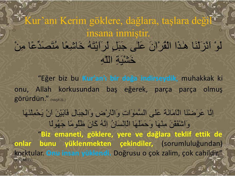 Kur'anı Kerim Allah tarafından kıyamete kadar koruma altına alınmıştır.