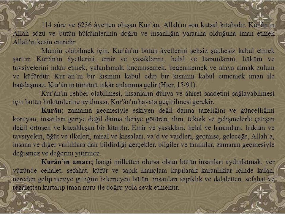 Kurân'ın ana konusu Allah ve insandır.Kurân Allah'ı ve insanı tanıtır.