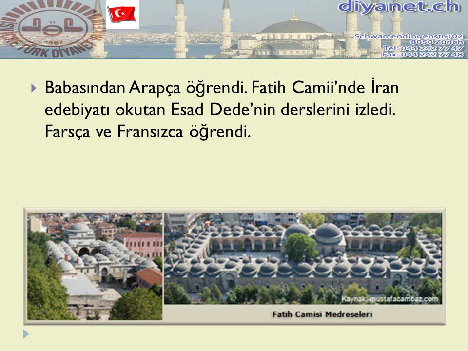  Babasından Arapça ö ğ rendi. Fatih Camii'nde İ ran edebiyatı okutan Esad Dede'nin derslerini izledi. Farsça ve Fransızca ö ğ rendi.