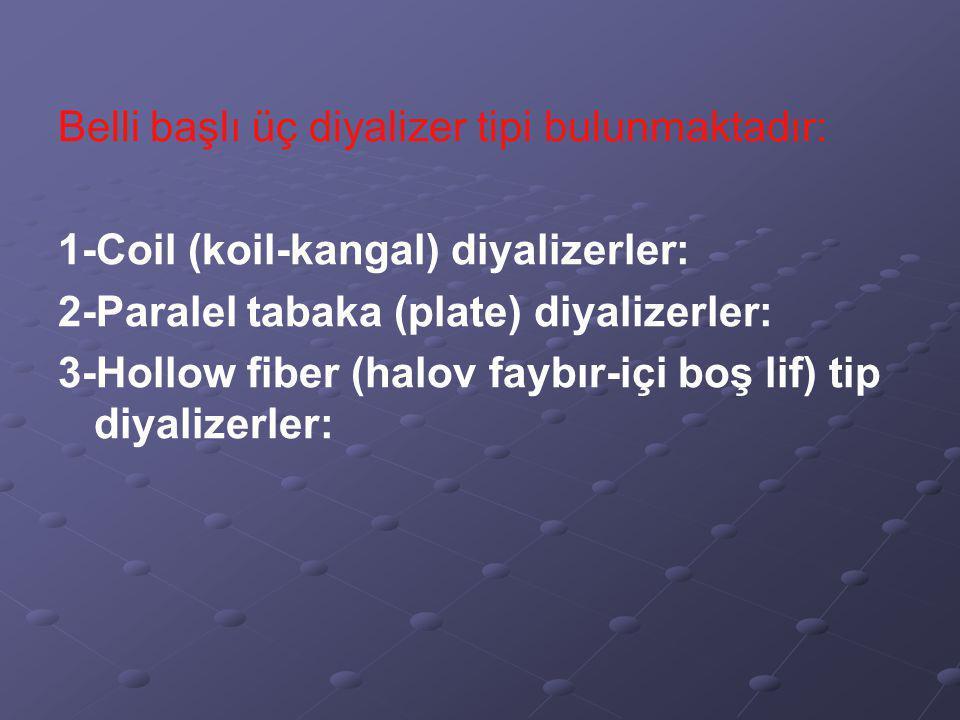 Belli başlı üç diyalizer tipi bulunmaktadır: 1-Coil (koil-kangal) diyalizerler: 2-Paralel tabaka (plate) diyalizerler: 3-Hollow fiber (halov faybır-içi boş lif) tip diyalizerler: