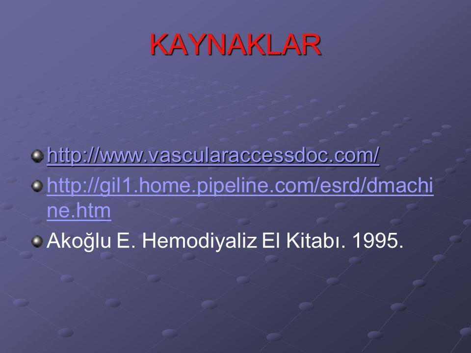 KAYNAKLAR http://www.vascularaccessdoc.com/ http://gil1.home.pipeline.com/esrd/dmachi ne.htm Akoğlu E. Hemodiyaliz El Kitabı. 1995.