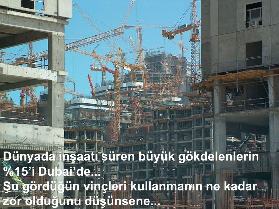 Dünyada inşaatı süren büyük gökdelenlerin %15'i Dubai'de... Şu gördüğün vinçleri kullanmanın ne kadar zor olduğunu düşünsene...