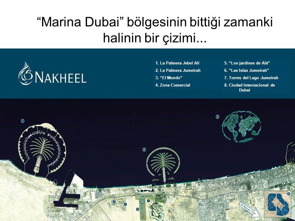 """Marina Dubai"" bölgesinin bittiği zamanki halinin bir çizimi... 5. ""Los jardines de Alá"" 6. ""Las Islas Jumeirah"" 7. Torres del Lago Jumeirah 8. Ciudad"