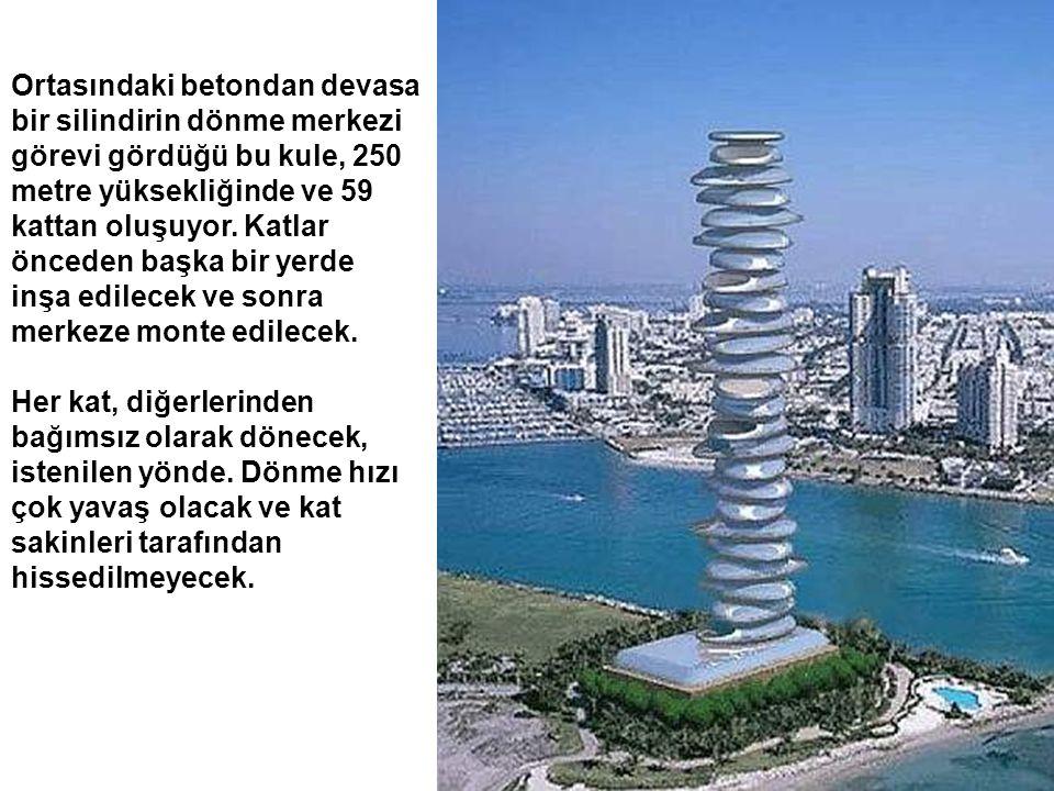 Ortasındaki betondan devasa bir silindirin dönme merkezi görevi gördüğü bu kule, 250 metre yüksekliğinde ve 59 kattan oluşuyor. Katlar önceden başka b