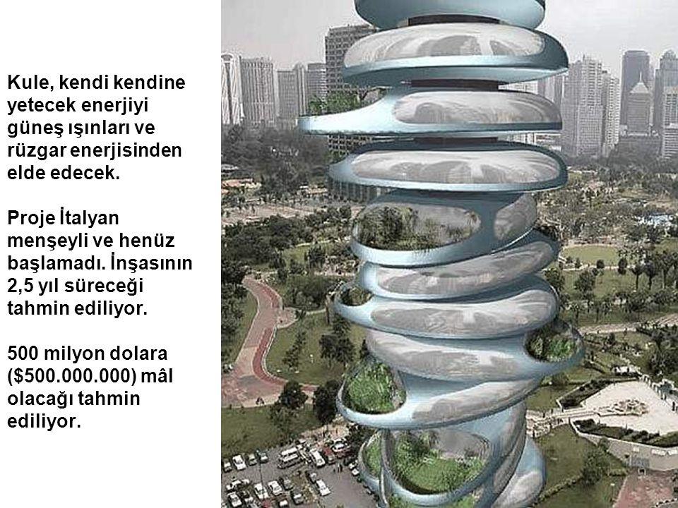Kule, kendi kendine yetecek enerjiyi güneş ışınları ve rüzgar enerjisinden elde edecek. Proje İtalyan menşeyli ve henüz başlamadı. İnşasının 2,5 yıl s
