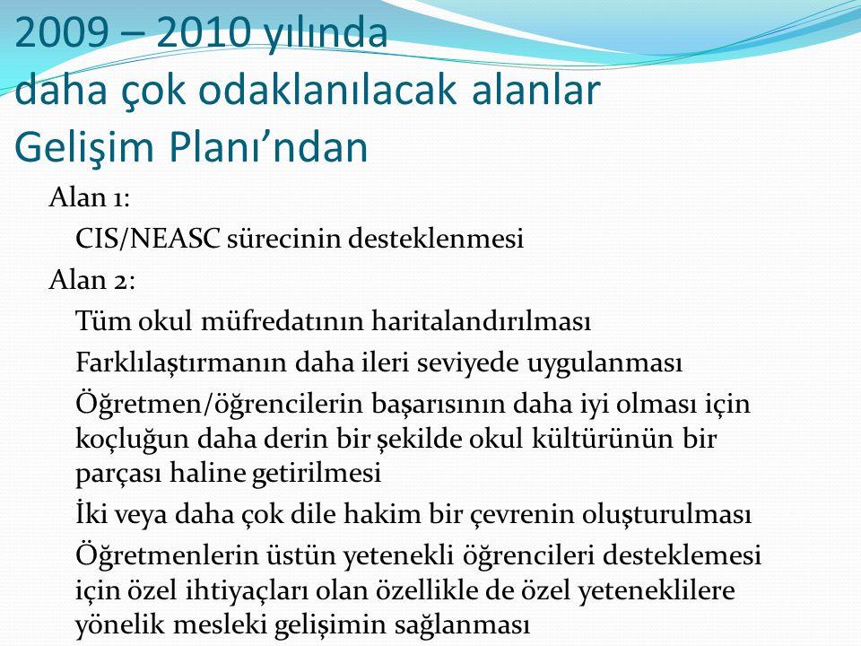 2009 – 2010 yılında daha çok odaklanılacak alanlar Gelişim Planı'ndan Alan 1: CIS/NEASC sürecinin desteklenmesi Alan 2: Tüm okul müfredatının haritala