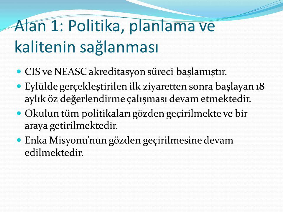 Alan 1: Politika, planlama ve kalitenin sağlanması CIS ve NEASC akreditasyon süreci başlamıştır.