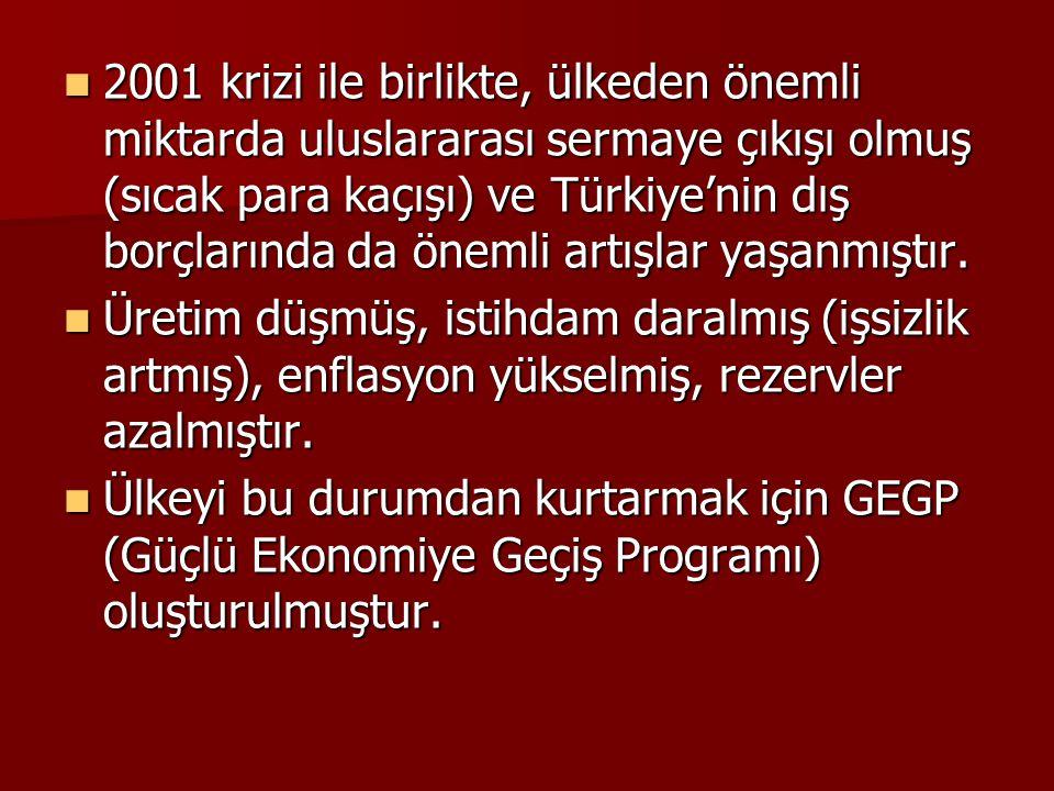 2001 krizi ile birlikte, ülkeden önemli miktarda uluslararası sermaye çıkışı olmuş (sıcak para kaçışı) ve Türkiye'nin dış borçlarında da önemli artışlar yaşanmıştır.