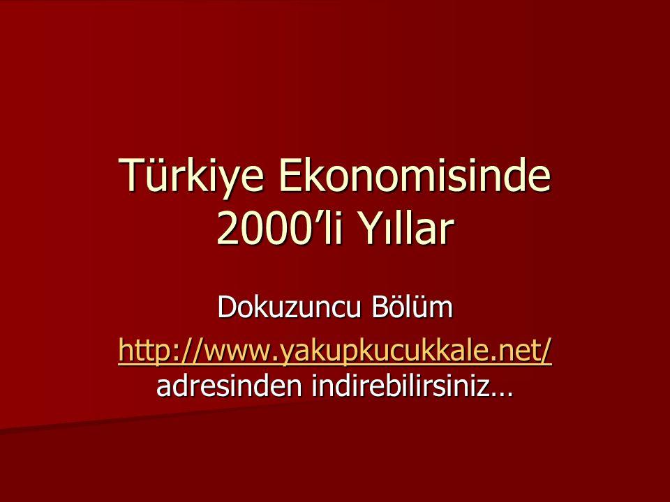 Türkiye Ekonomisinde 2000'li Yıllar Dokuzuncu Bölüm http://www.yakupkucukkale.net/ http://www.yakupkucukkale.net/ adresinden indirebilirsiniz… http://