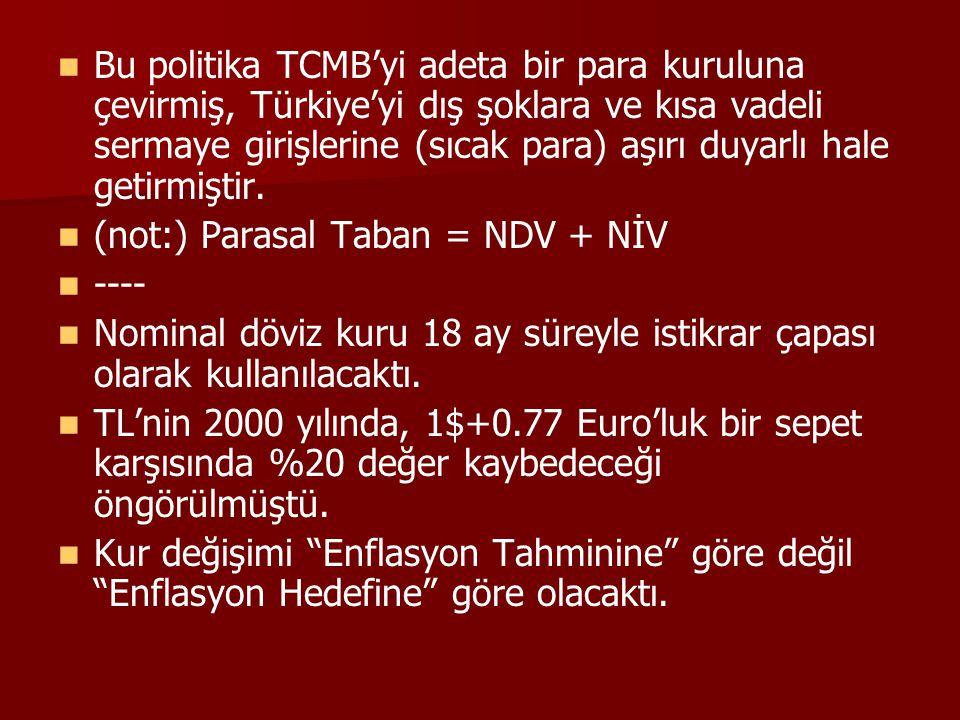 Bu politika TCMB'yi adeta bir para kuruluna çevirmiş, Türkiye'yi dış şoklara ve kısa vadeli sermaye girişlerine (sıcak para) aşırı duyarlı hale getirm