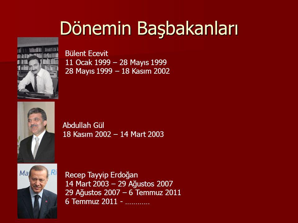 Dönemin Başbakanları Bülent Ecevit 11 Ocak 1999 – 28 Mayıs 1999 28 Mayıs 1999 – 18 Kasım 2002 Abdullah Gül 18 Kasım 2002 – 14 Mart 2003 Recep Tayyip Erdoğan 14 Mart 2003 – 29 Ağustos 2007 29 Ağustos 2007 – 6 Temmuz 2011 6 Temmuz 2011 - …………