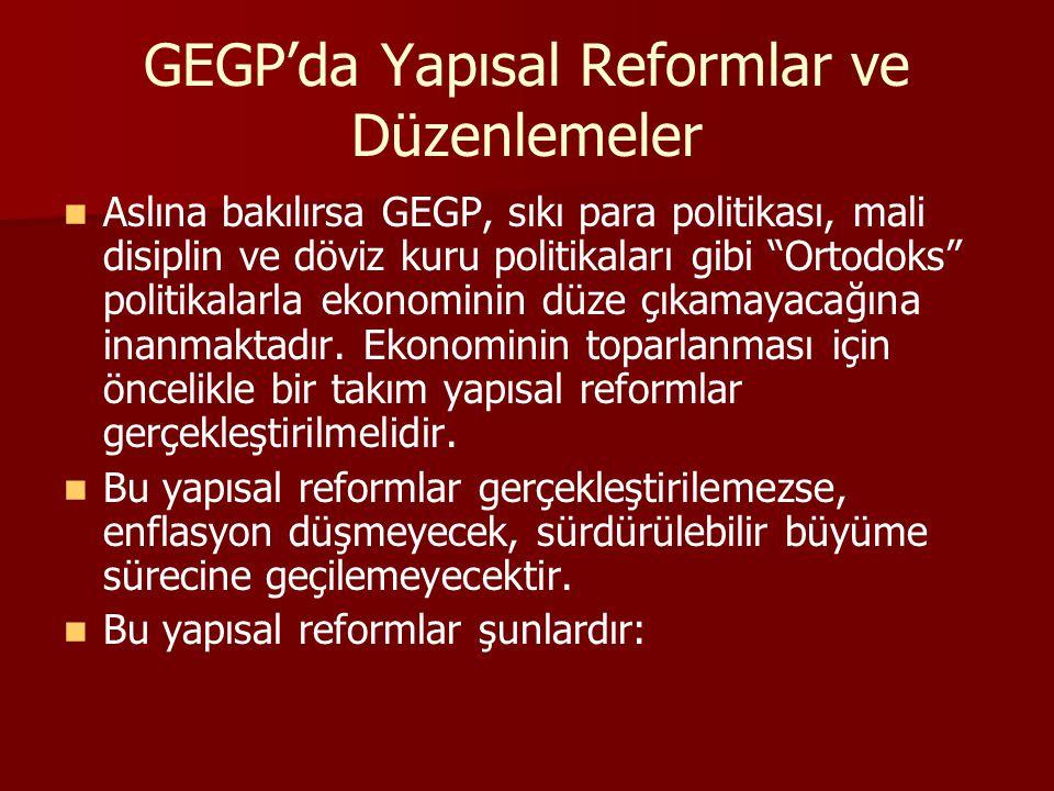 GEGP'da Yapısal Reformlar ve Düzenlemeler Aslına bakılırsa GEGP, sıkı para politikası, mali disiplin ve döviz kuru politikaları gibi Ortodoks politikalarla ekonominin düze çıkamayacağına inanmaktadır.
