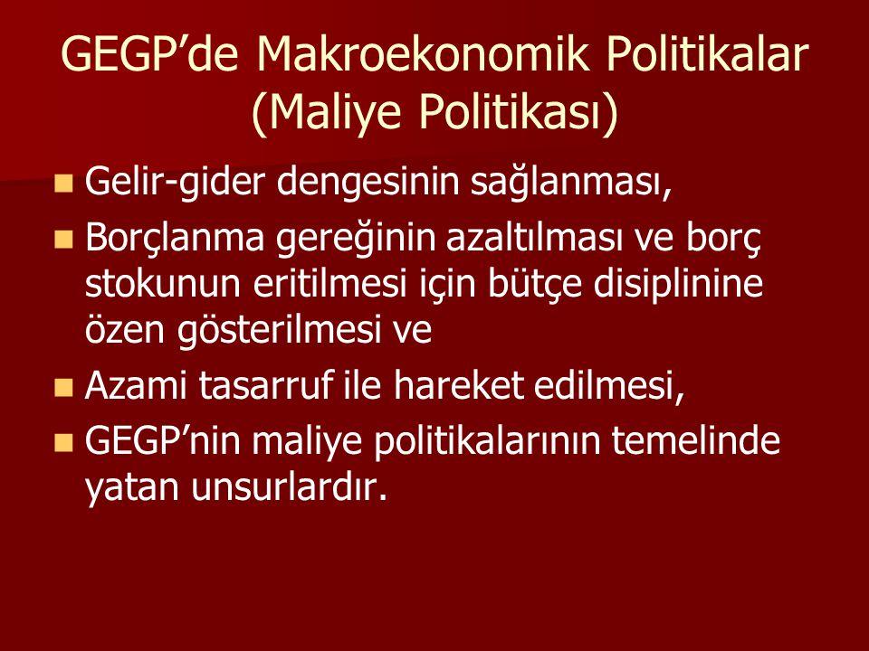 GEGP'de Makroekonomik Politikalar (Maliye Politikası) Gelir-gider dengesinin sağlanması, Borçlanma gereğinin azaltılması ve borç stokunun eritilmesi i