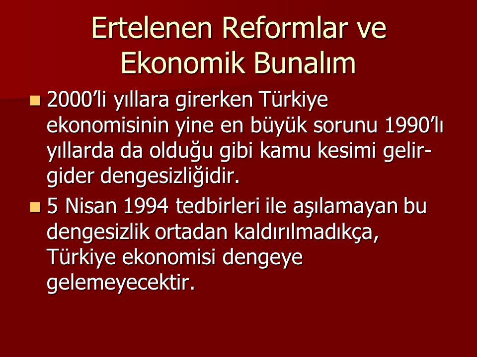 Ertelenen Reformlar ve Ekonomik Bunalım 2000'li yıllara girerken Türkiye ekonomisinin yine en büyük sorunu 1990'lı yıllarda da olduğu gibi kamu kesimi gelir- gider dengesizliğidir.