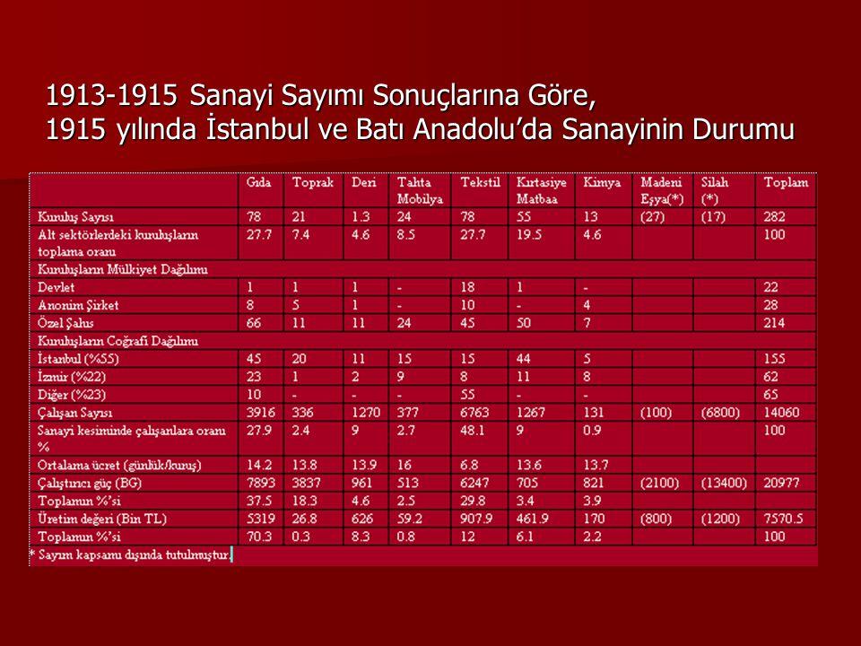 1913-1915 Sanayi Sayımı Sonuçlarına Göre, 1915 yılında İstanbul ve Batı Anadolu'da Sanayinin Durumu